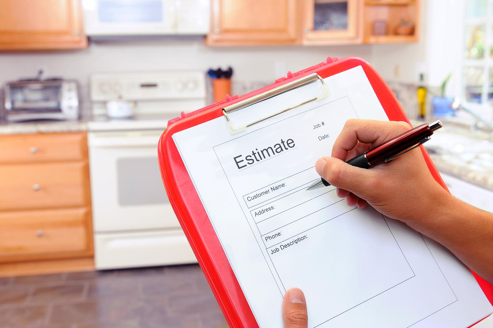Closeup of a contractors clipboard estimate form Houston 3 Bid Rule Problem