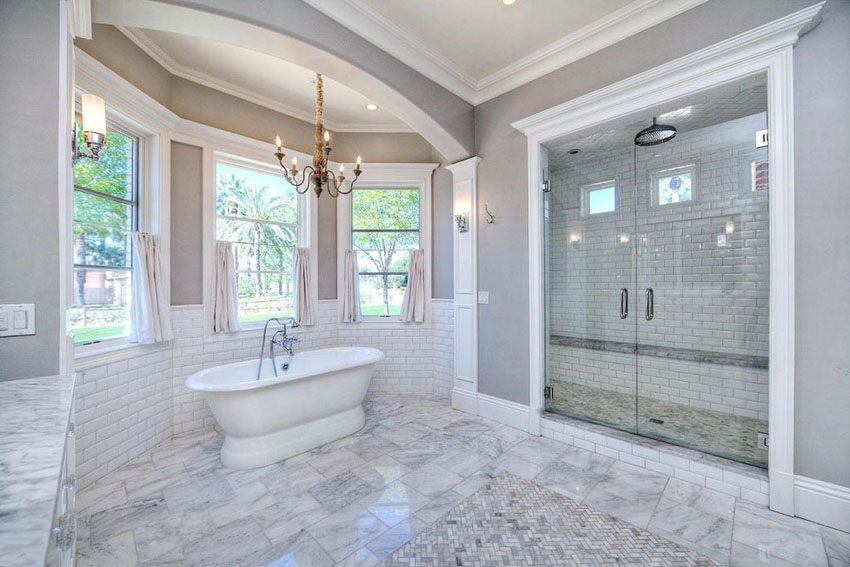 Houston Large Luxury Bathroom With White Subway Tile And